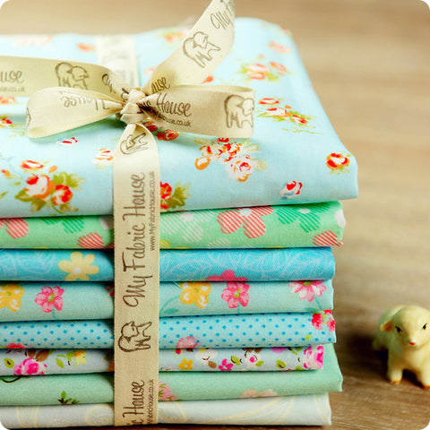 Ditsy - 25x25cm blue floral cotton fabric bundle 8pcs PK1503-01