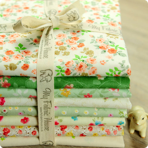 Ditsy - 25x25cm green floral cotton fabric bundle 8pcs PK1503-02