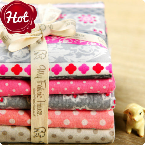 Flowers - pink & grey cotton fabric bundle 5FQs