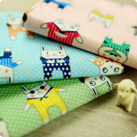 Woodland - pastel multi-coloured rabbit cotton fabric bundle 3FQs PK1506-06