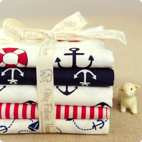 Nautical - white & blue navy cotton fabric bundle 5FQs PK1506-09