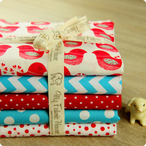 Christmas - red & blue aqua cotton fabric bundle 5FQs PK1508-02