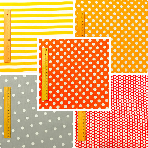 Grey orange & yellow cotton fabric bundle 5FQs PK1508-04