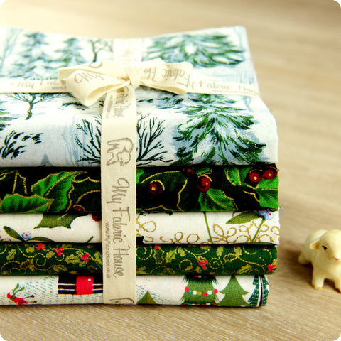 Christmas - green & white cotton fabric bundle 5FQs PK1508-05