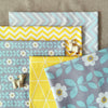 Bold floral - blue yellow & grey retro floral cotton fabric bundle PK1512-03