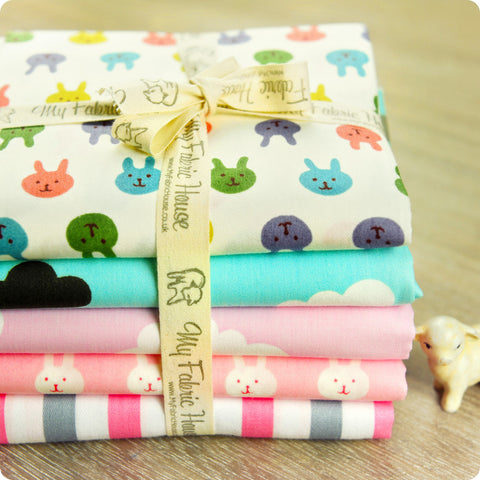 Woodland - rabbits & clouds pink & blue (extra wide 160cm) cotton fabric PK1512-06