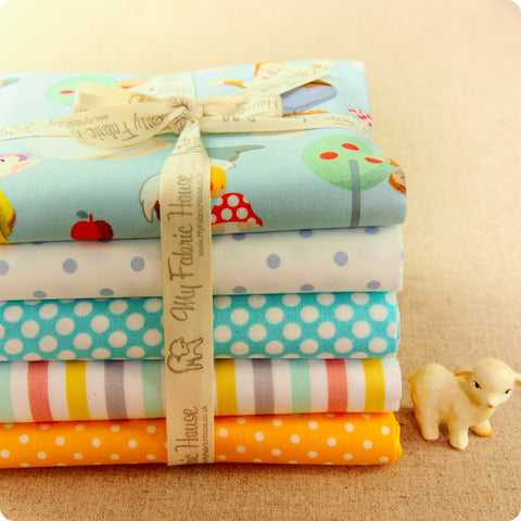 Woodland - cute gnomes blue & yellow cotton fabric bundle