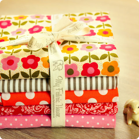 Flowers - spring floral orange & red cotton fabric bundle