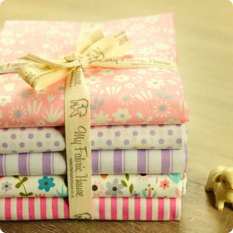Ditsy - floral pink & purple cotton fabric bundle