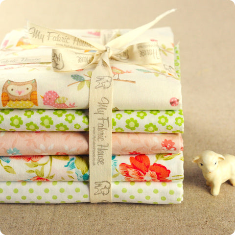 Birds - floral pink & green pastel multicolour cotton fabric bundle PK1604-06