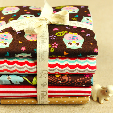 Owls - brown & red floral & waves cotton fabric bundle PK1607-02