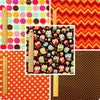 Halloween - orange & brown autumn owls cotton fabric bundle 5FQs