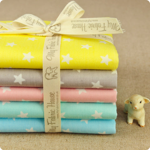Stars - pastel multicolored cotton fabric bundle 5FQs PK1802-02