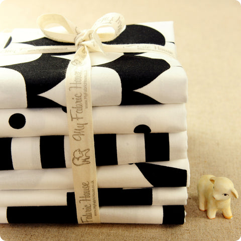 Monochrome - black & white geometric cotton fabric bundle 6FQs PK1802-03