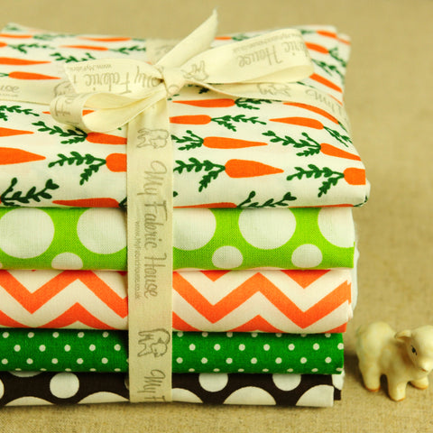 Easter - orange & green carrots & geometric cotton fabric bundle 5FQs PK1802-05
