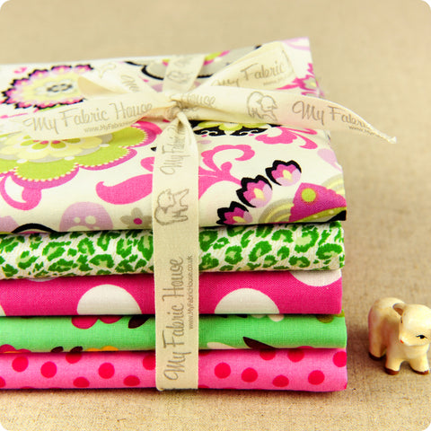 Bold Floral - pink & green flowers & dots cotton fabric bundle 5FQs PK1802-06
