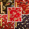 Japanese - red & navy blue koi fish crane & floral cotton fabric bundle 5FQs PK1802-07