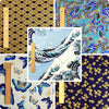 Japanese - blue & gold waves butterfly & floral cotton fabric bundle 5FQs PK1802-08