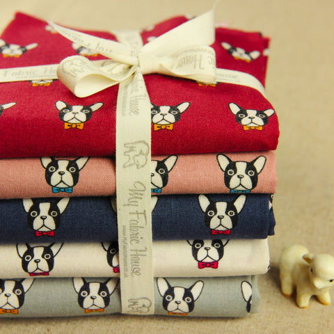 Pets - bulldog heads cotton fabric bundle 5FQs PK1810-01