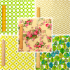 Floral - green & beige flowers & polka dots cotton fabric bundle 5FQs PK2006-05