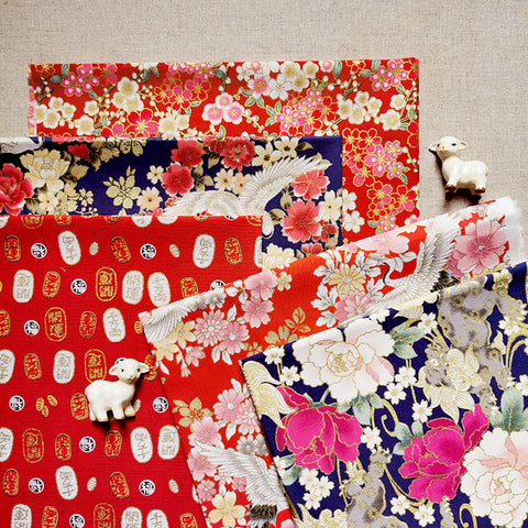 Japanese - red & navy blue crane & floral cotton fabric bundle 5FQs PK2009-01