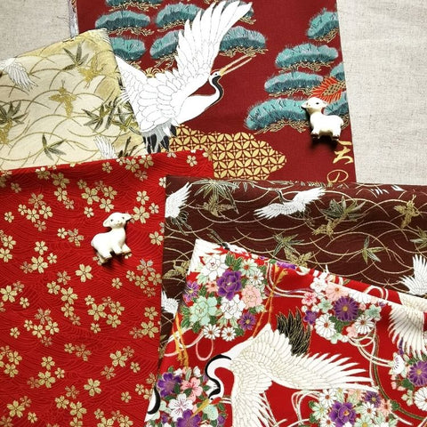 Japanese - red, scarlet & beige cranes & cherry blossom cotton fabric bundle 5FQs PK2009-05