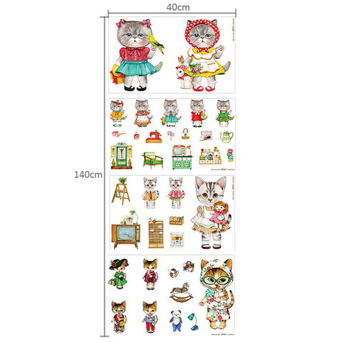 Pets - ever-changing Miss Kitty cat linen panel fabric PN1206-02