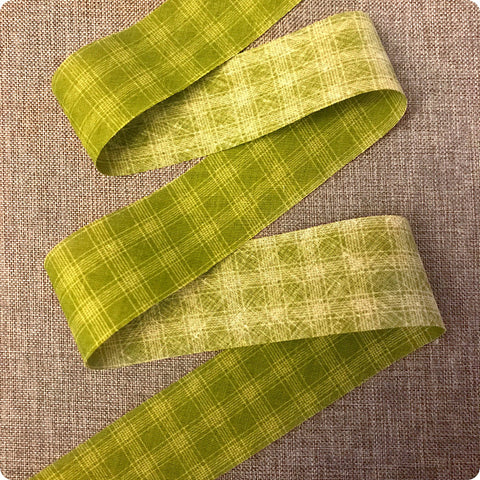 Checks - 5m green cotton bias binding unfolded tape