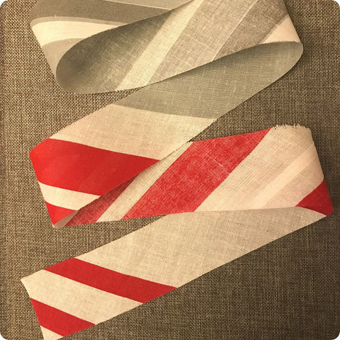 Stripes - 5m grey & red cotton bias binding unfolded tape