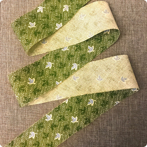 Ditsy - 5m green flowers cotton bias binding unfolded tape