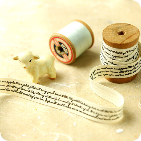 3m Cotton Ribbon - Words Writing Script | My Fabric House