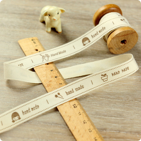 3m cotton ribbon - grey handmade labels
