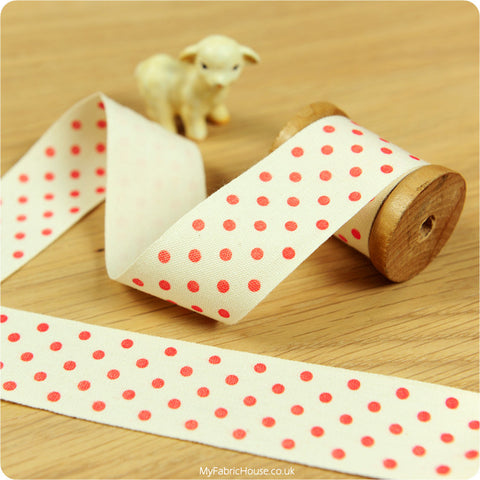 3m Cotton Ribbon - Polka Dots | My Fabric House