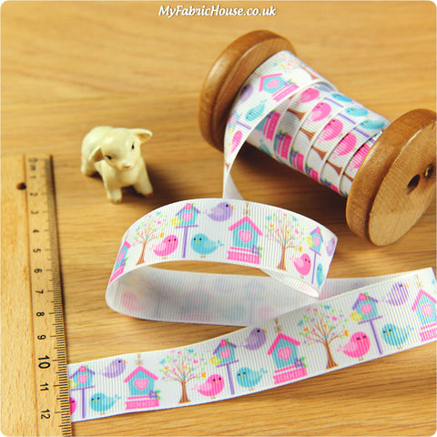 3m Grosgrain Ribbon - Kids Girl Bird House | My Fabric House