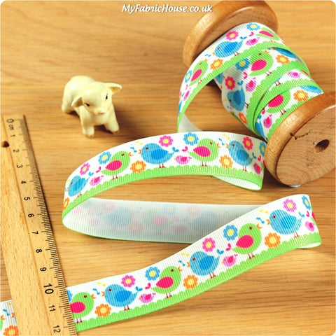 3m Grosgrain Ribbon - Kids Girl Birds | My Fabric House