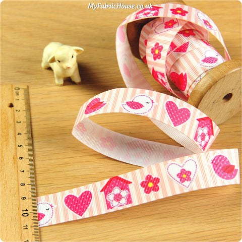 3m Grosgrain Ribbon - Kids Girl Pink Birds | My Fabric House
