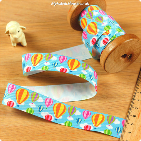 3m Grosgrain Ribbon - Kids Hot Air Balloons | My Fabric House