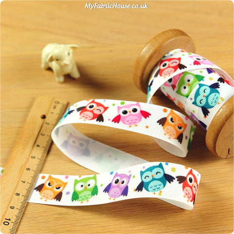 Owls - 3m multicoloured owls grosgrain ribbon RB1307-06