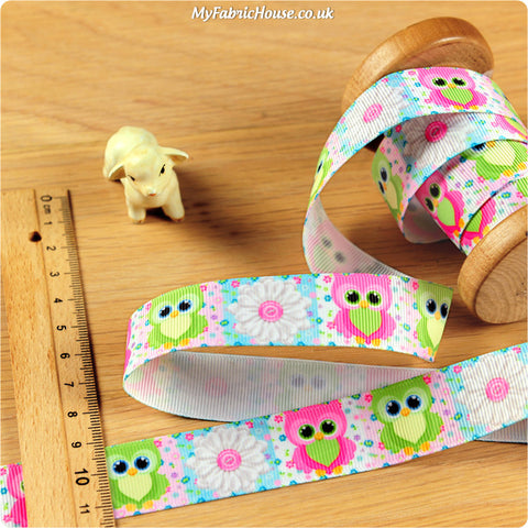 3m Grosgrain Ribbon - Kids Girl Owl Flower | My Fabric House