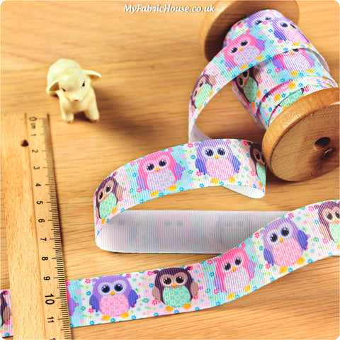 3m Grosgrain Ribbon - Kids Girl Pink Purple Owls | My Fabric House