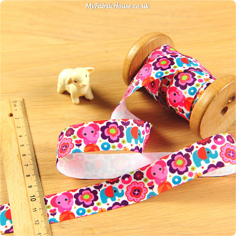 3m Grosgrain Ribbon - Kids Girl Pink Elephant | My Fabric House