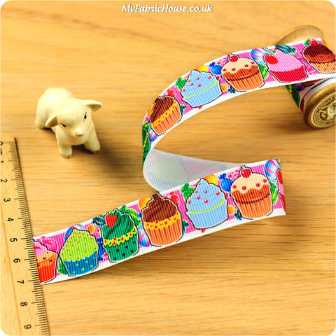 3m Grosgrain Ribbon - Kids Girl Cupcakes | My Fabric House