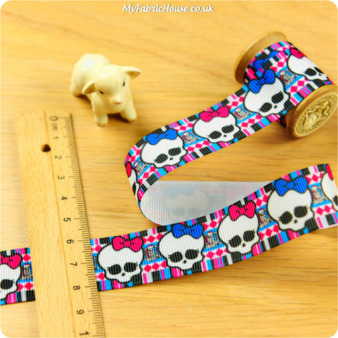 3m Grosgrain Ribbon - Kids Girl Halloween Skull | My Fabric House
