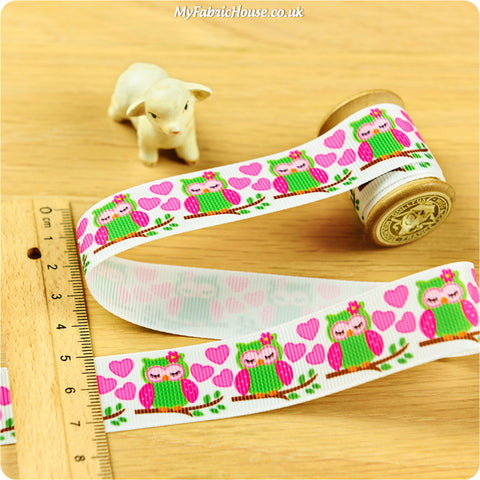3m Grosgrain Ribbon - Kids Girl Pink Owl Bird | My Fabric House