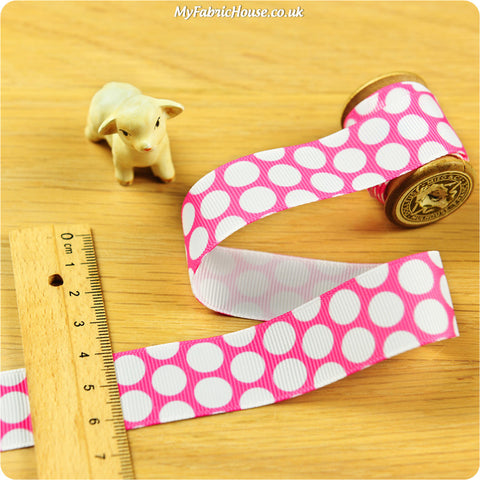 3m Grosgrain Ribbon - Pink Polka Dots Spots | My Fabric House