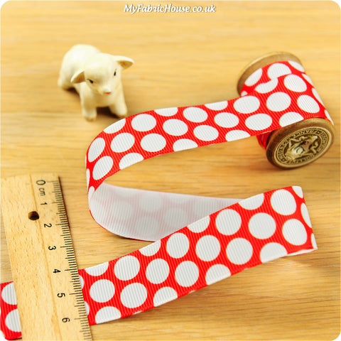 3m Grosgrain Ribbon - Red Polka Dots Spots | My Fabric House