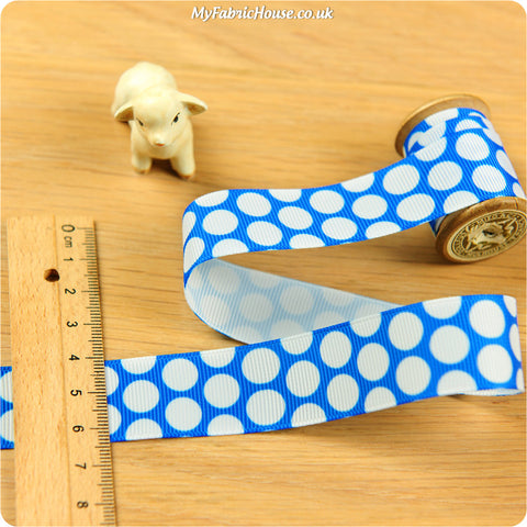 3m Grosgrain Ribbon - Blue Polka Dots Spots | My Fabric House