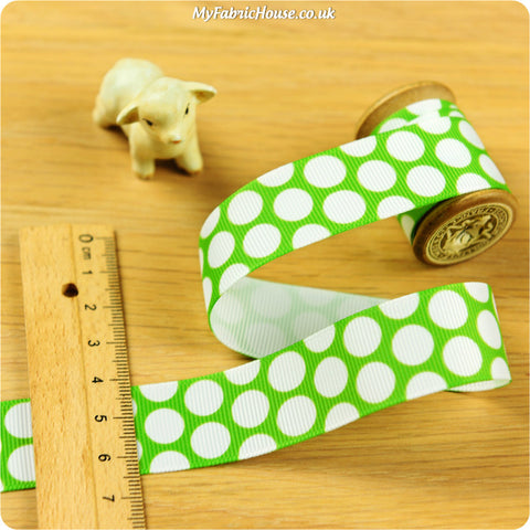 3m Grosgrain Ribbon - Green Polka Dots Spots | My Fabric House