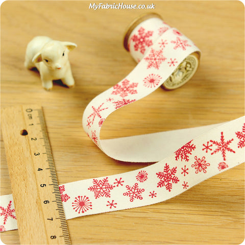 3m cotton ribbon - Christmas red snowflakes