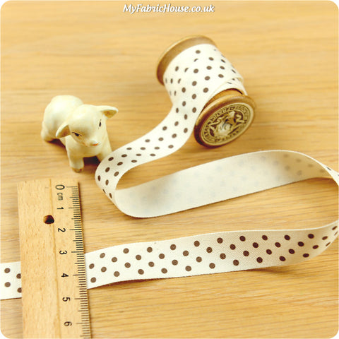 3m cotton ribbon - brown polka dots